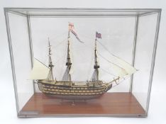 A model of HMS Victory in a perspex case Please Note - we do not make reference to the condition