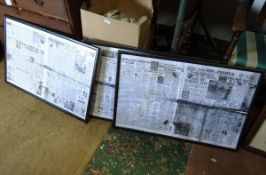 "Three framed prints of The People newspaper from 1940s. Each approx. 34"" wide Please Note - we do"