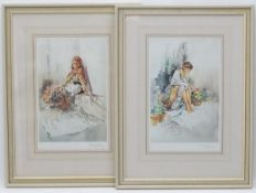 After Gordon King (1939 - ), Colour print (2), ' Suzi ' and 'Selina' Signed in pencil by the artist.