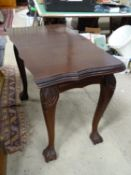 "Side table with serpentine top and ball and claw feet. Approx. 38"" wide Please Note - we do not make"