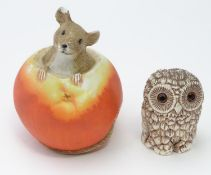 Ornament of a mouse in an apple together with a model of an owl (2) Please Note - we do not make