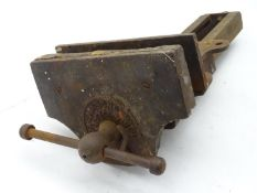 An early 20thC Bench vice marked ' Parkinson's Ptnd. Please Note - we do not make reference to the
