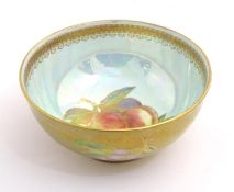 A Wedgwood lustre ware bowl with hand painted fruit decoration with gilt highlights. Approx. 2 1/