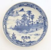 A Chinese blue and white dish / bowl with hand painted decoration depicting a landscape with