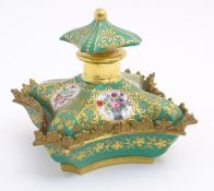 A 19thC Continental dressing table scent bottle / perfume flask with a green ground and gilt