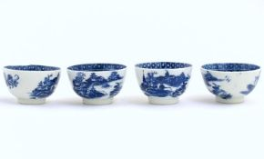 Four blue and white Caughley style tea bowls decorated with landscape scenes with pagodas and