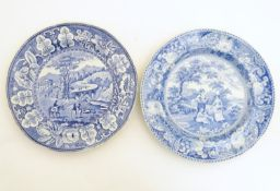 Two blue and white plates, to include The Gleaners and a landscape scene with figures and horses.