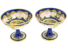 A pair of Royal Worcester sweetmeat / bonbon dishes with a cobalt blue ground with gilt highlights