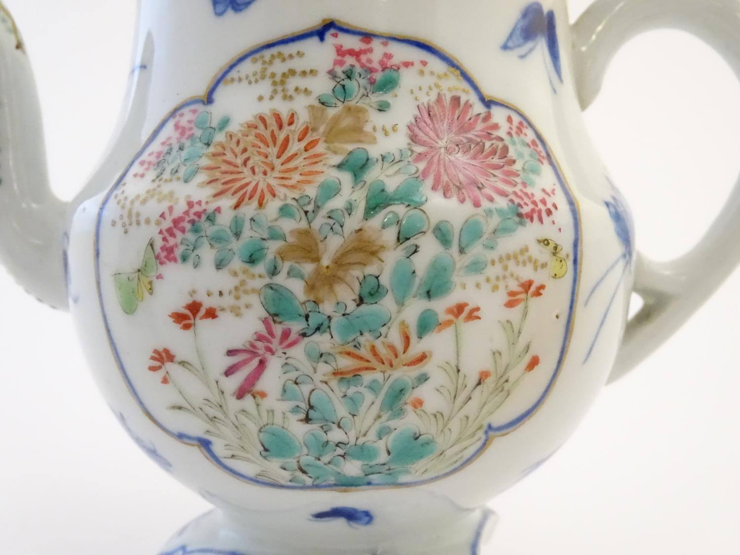 A Japanese teapot, twin handled sugar bowl and milk jug decorated with hand painted insects and - Image 6 of 8