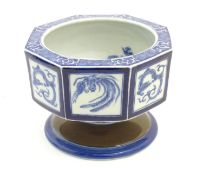 A Chinese blue and white octagonal pedestal bowl with panelled phoenix and dragon decoration. The