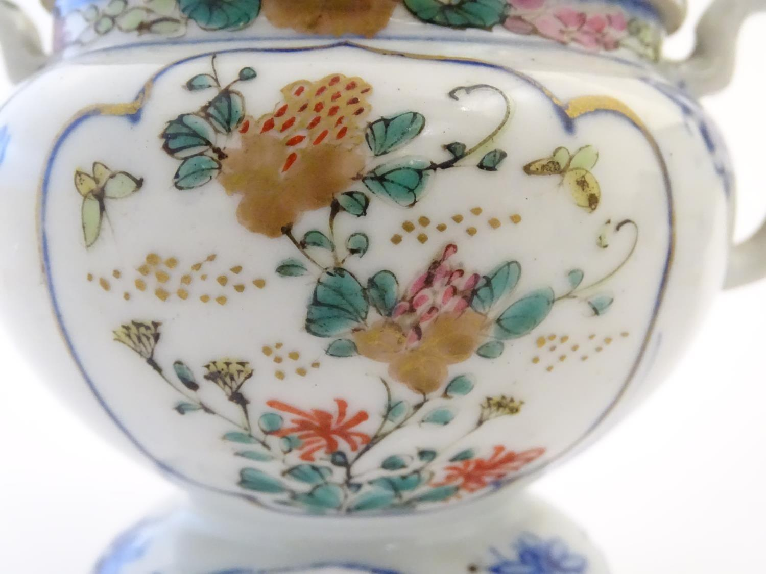 A Japanese teapot, twin handled sugar bowl and milk jug decorated with hand painted insects and - Image 4 of 8