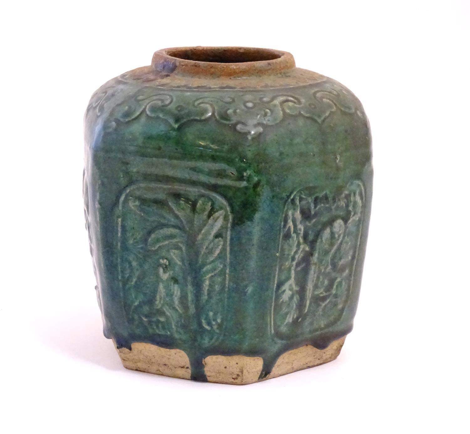 A Chinese hexagonal Shiwan ginger jar / vase with moulded floral, foliate, bird and script detail - Image 4 of 5