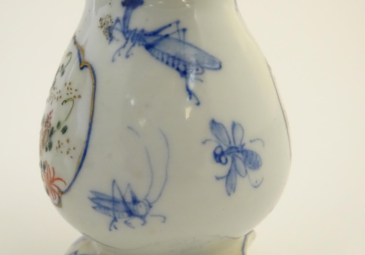 A Japanese teapot, twin handled sugar bowl and milk jug decorated with hand painted insects and - Image 7 of 8