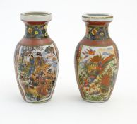 Two Japanese small proportion vases with hand painted decoration depicting Geisha figures in a