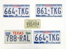 A quantity of late 20thC / 21stC examples of American state license / number plates, Texas, three