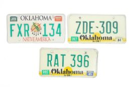 A quantity of late 20thC / 21stC examples of American state license / number plates, Oklahoma, two