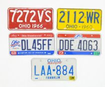 A quantity of late 20thC / 21stC examples of American state license / number plates, Ohio, variously