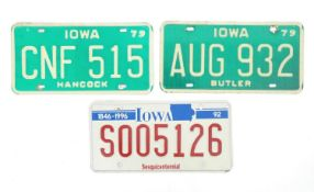 A quantity of late 20thC / 21stC examples of American state license / number plates, Iowa, two