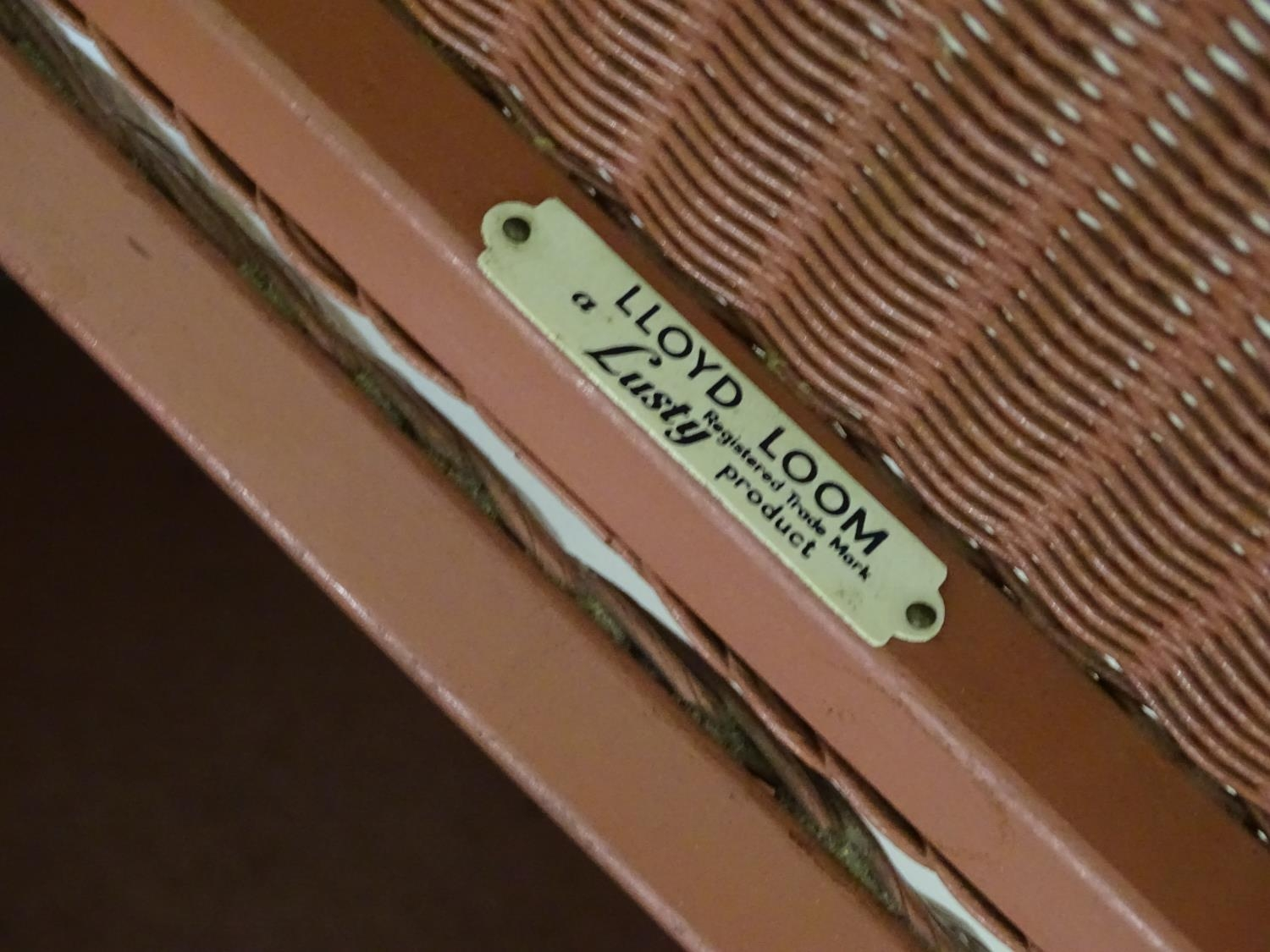 A mid / late 20thC Lusty Lloyd Loom linen basket with a painted finish and containing label - Image 4 of 5