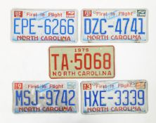 A quantity of late 20thC / 21stC examples of American state license / number plates, North Carolina,
