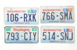 A quantity of late 20thC / 21stC examples of American state license / number plates, Washington,