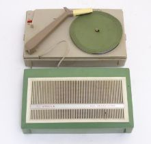 Vintage retro, mid-century: a Dutch Stella portable battery operated transistor record player,