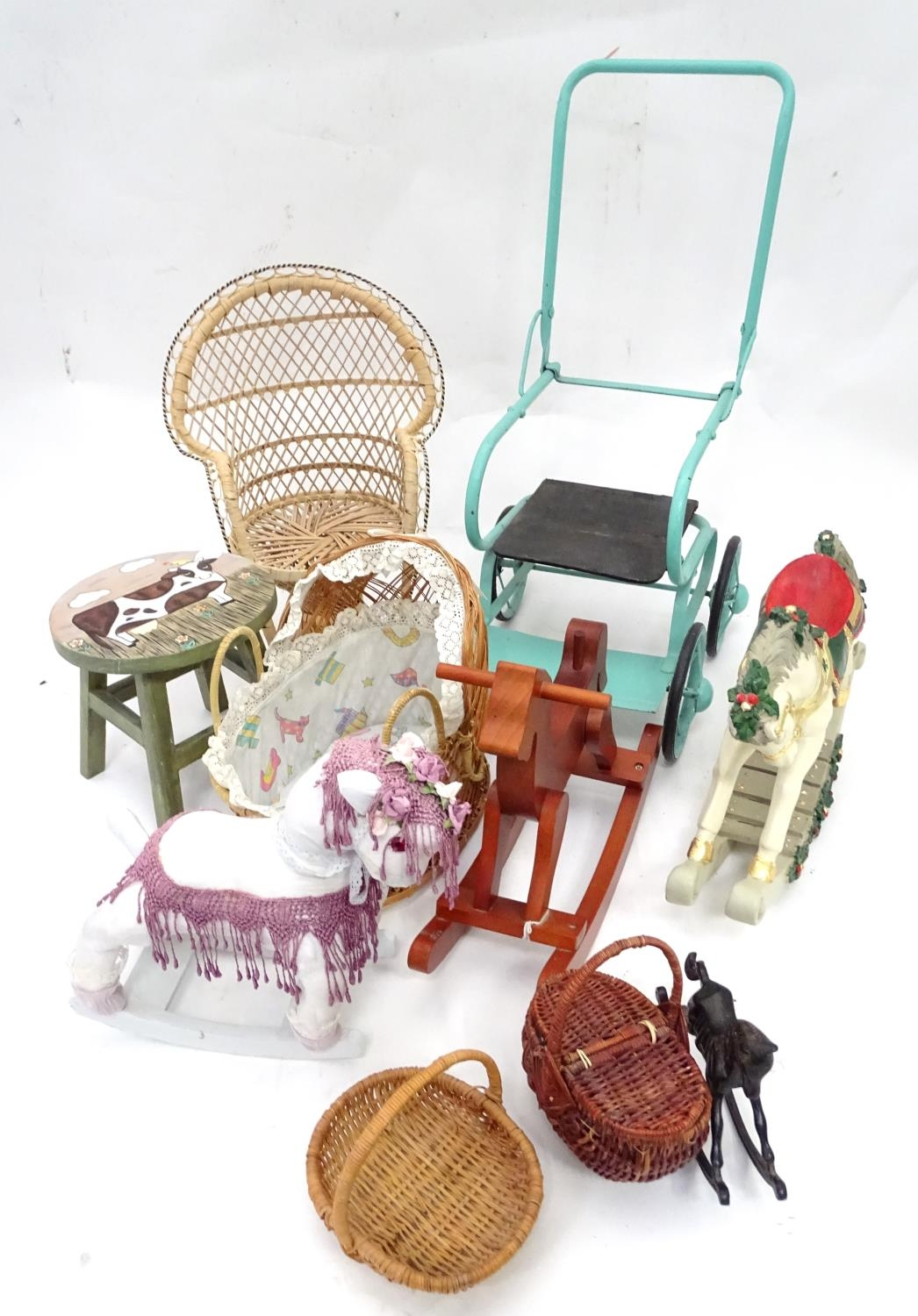 A quantity of dolls items to include a pram, smalls chairs, stool, etc. Please Note - we do not make - Image 3 of 11
