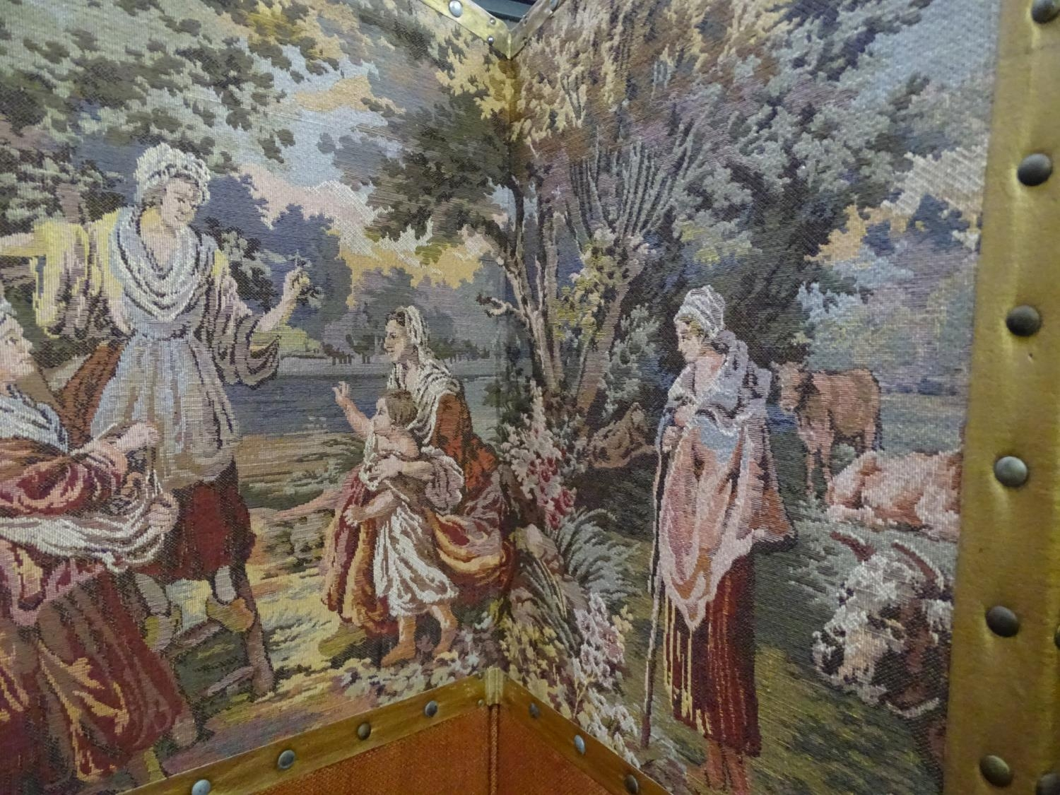 """A four fold 20thC dressing screen / room divider with tapestry decoration. Approx. 65 3/4"""" tall - Image 6 of 6"""