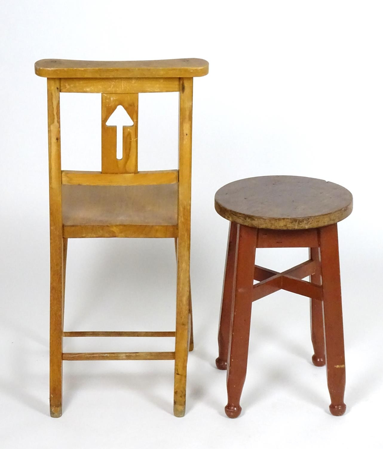 An early 20thC pine stool together with a chair having a shaped top rail and pierced back splat. - Image 3 of 4