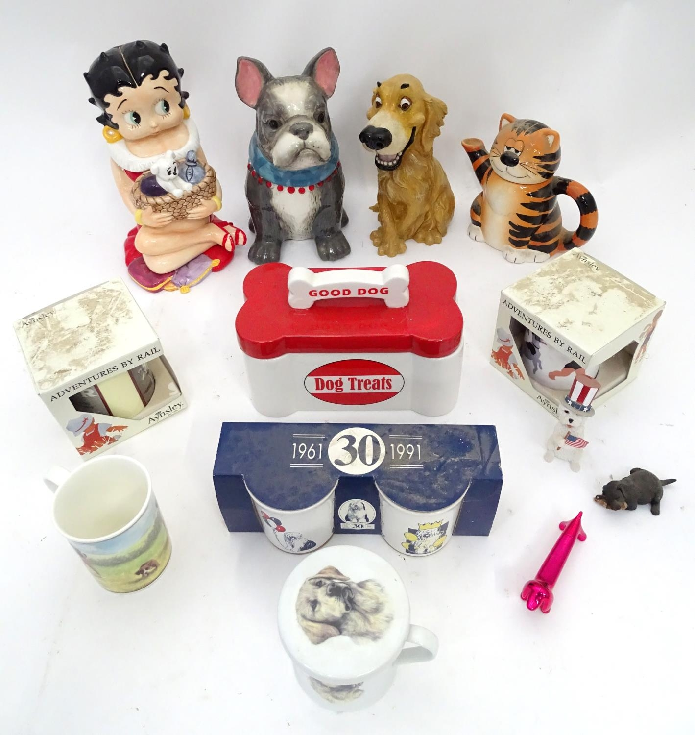A quantity of assorted ceramic items to include biscuit barrel formed as a dog, two boxed Ansley - Image 3 of 6