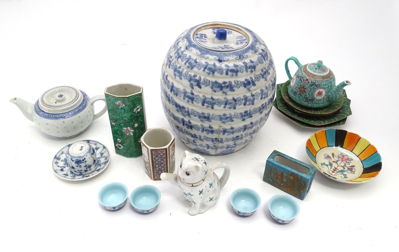 A quantity of assorted oriental ceramics, to include oriental tea bowls, teapot, etc. Please