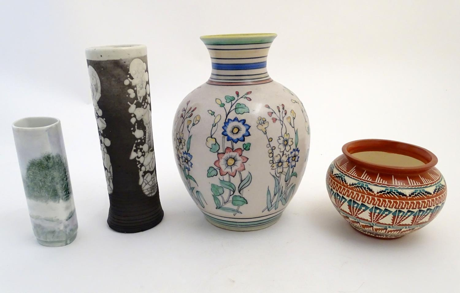Four assorted vases, comprising A New Mexico Navajo studio pottery squat vase with incised banded - Image 4 of 10