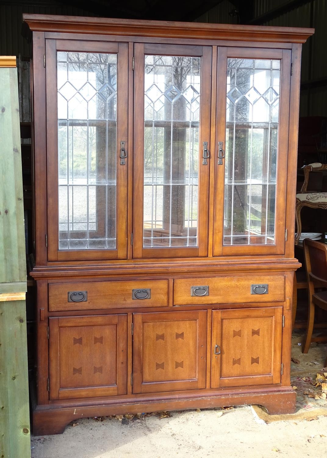 """A large 20thC glazed and mirrored display cabinet. Approx. 83"""" tall Please Note - we do not make"""