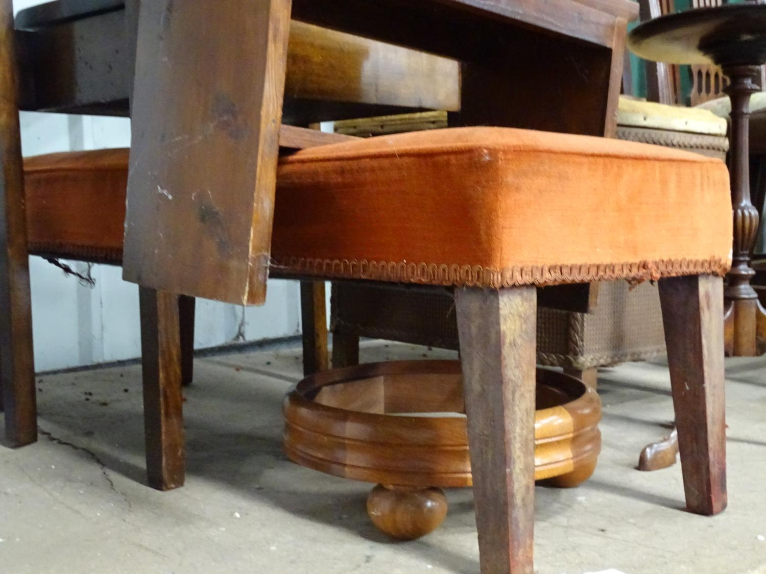 A quantity of furniture to include a piano stool, small step ladder, linen basket, etc. Please - Image 3 of 4