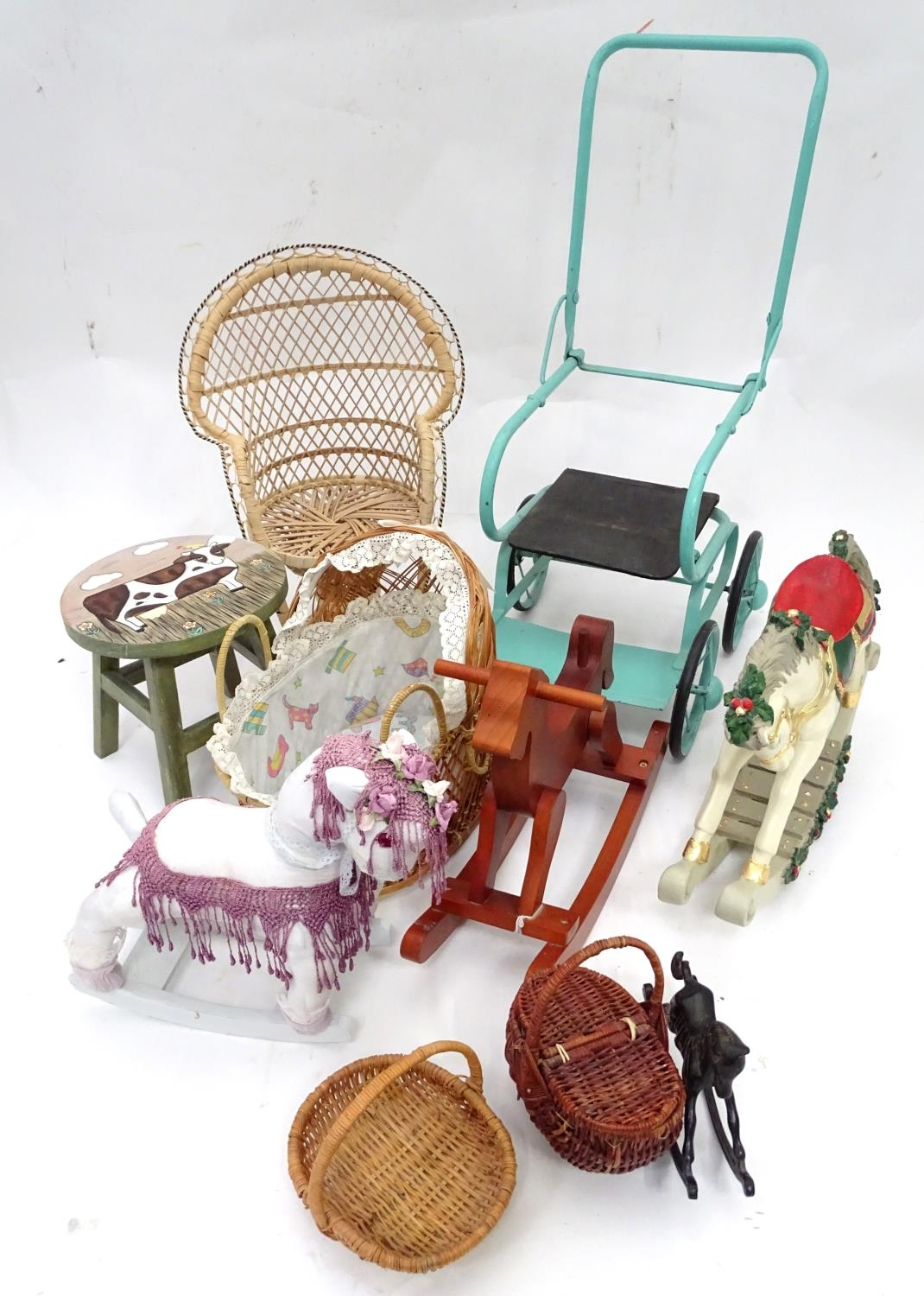 A quantity of dolls items to include a pram, smalls chairs, stool, etc. Please Note - we do not make