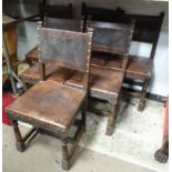 Six oak and leather upholstered dining chairs Please Note - we do not make reference to the