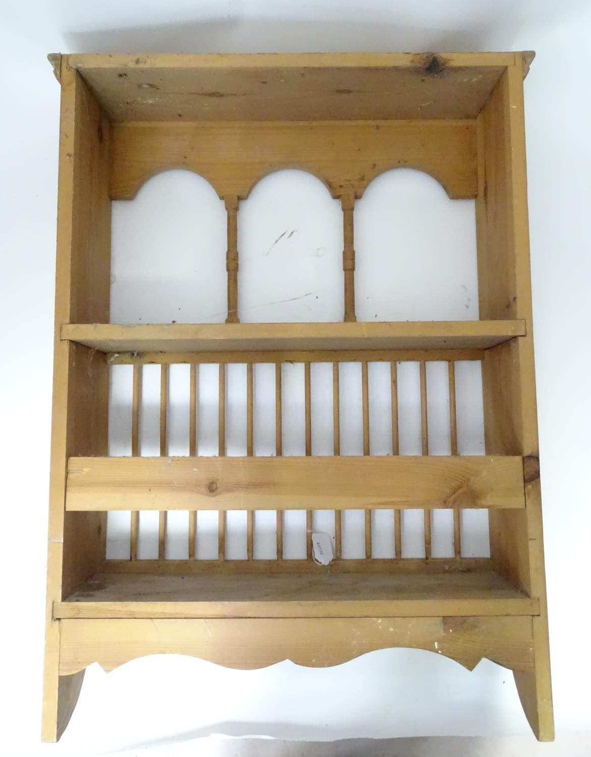 A pine plate rack together with a three tier buffet (2) Please Note - we do not make reference to - Image 7 of 9