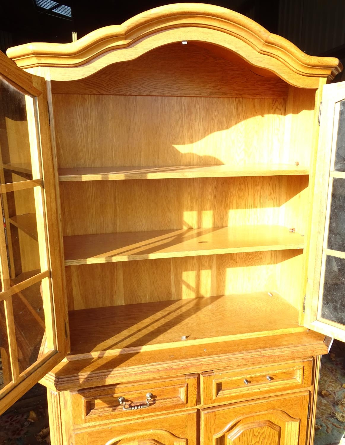 """A 20thC oak glazed dresser / cupboard. Approx. 75"""" tall Please Note - we do not make reference to - Image 4 of 5"""