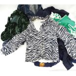 A quantity of assorted vintage clothing to include a Monsoon navy floral dress, an Ibra ribbon style