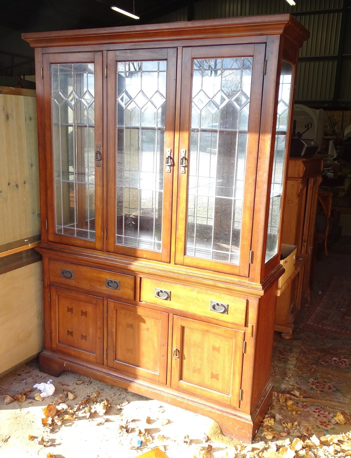 """A large 20thC glazed and mirrored display cabinet. Approx. 83"""" tall Please Note - we do not make - Image 3 of 7"""