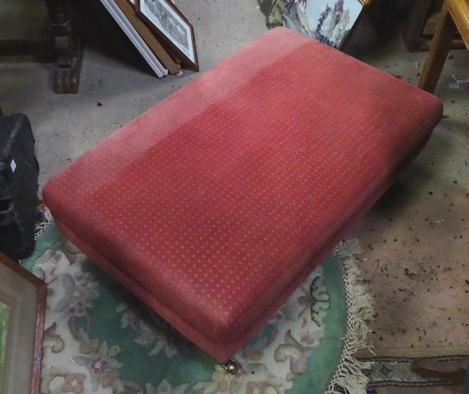 A large upholstered footstool on castors Please Note - we do not make reference to the condition - Image 5 of 6