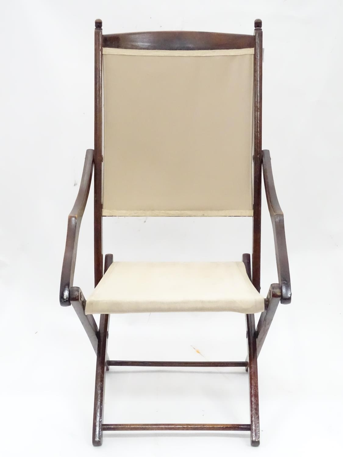 """A folding campaign / deck chair. Approx. 41"""" tall Please Note - we do not make reference to the - Image 2 of 5"""