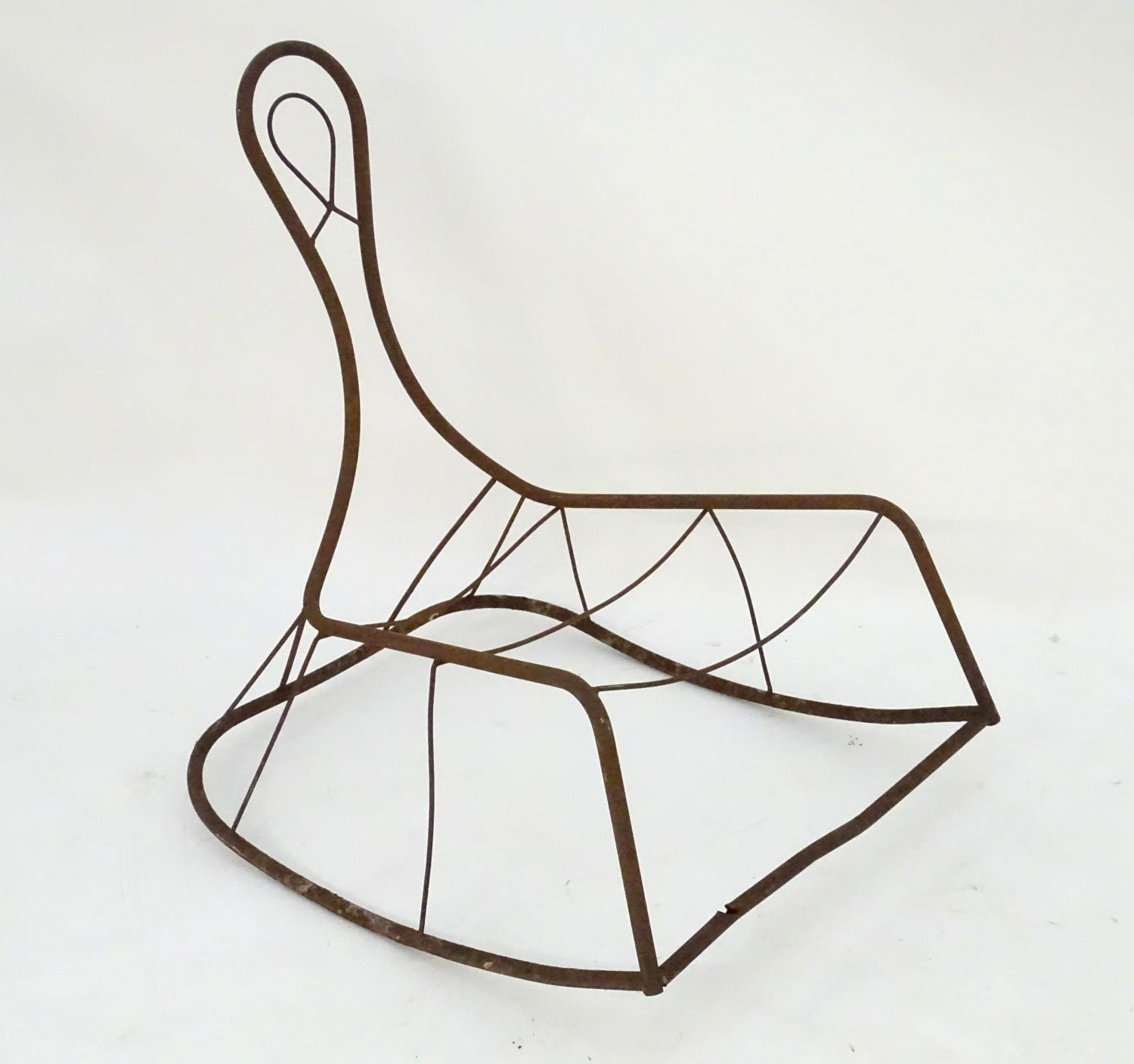 Garden & Architectural, Salvage: a mid-20thC metal rocking chair frame, suitable for use as a - Image 5 of 6