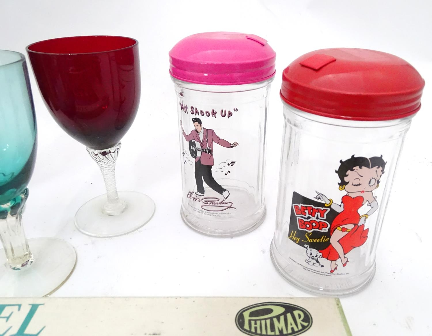 A box of miscellaneous to include novelty phone, drinking glasses, wine glasses, binoculars etc. - Image 9 of 12