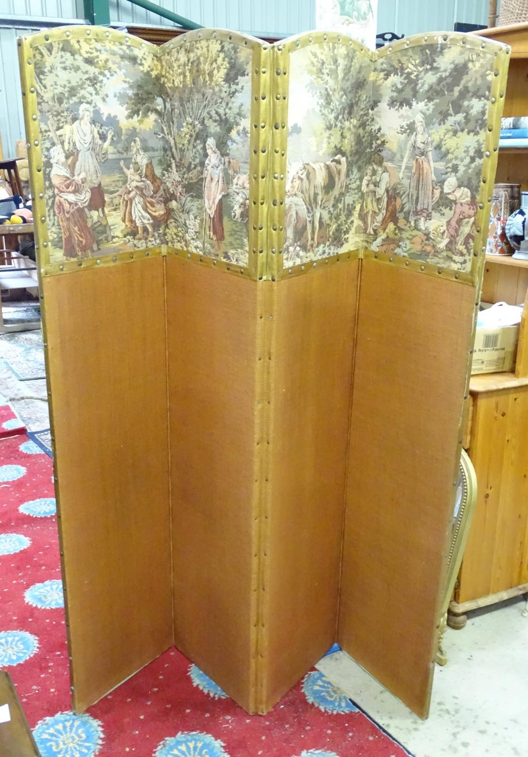 """A four fold 20thC dressing screen / room divider with tapestry decoration. Approx. 65 3/4"""" tall - Image 4 of 6"""