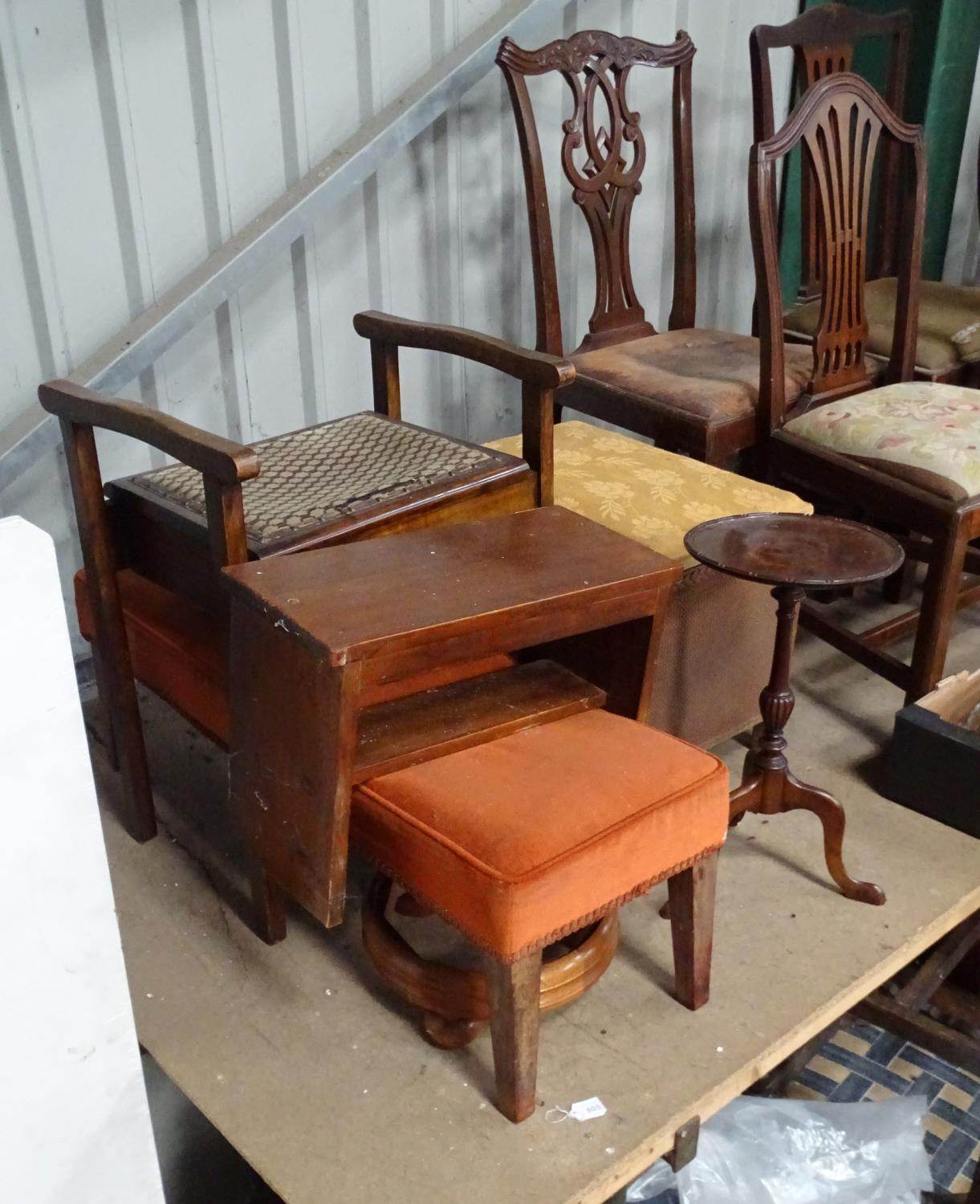 A quantity of furniture to include a piano stool, small step ladder, linen basket, etc. Please