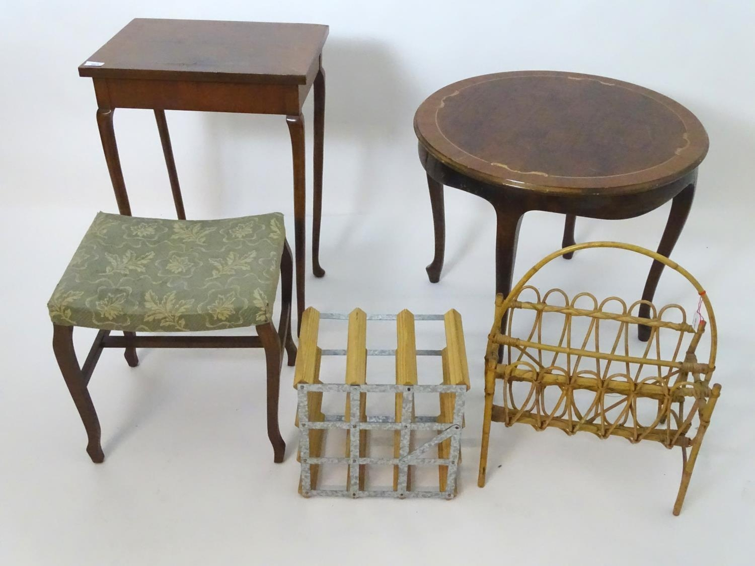 An assortment of furniture comprising wine rack, magazine rack, 2 occasional tables, and a stool (5) - Image 2 of 4