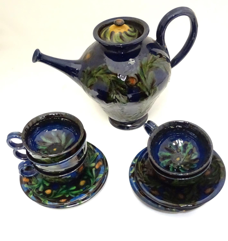 A quantity of Kahler Keramik Danish studio pottery tea wares, comprising a teapot and four cups - Image 6 of 30