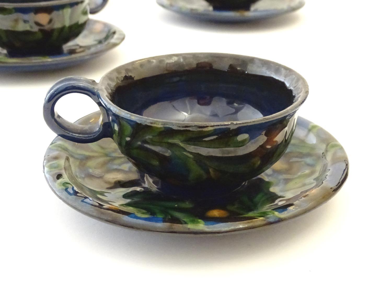 A quantity of Kahler Keramik Danish studio pottery tea wares, comprising a teapot and four cups - Image 5 of 30