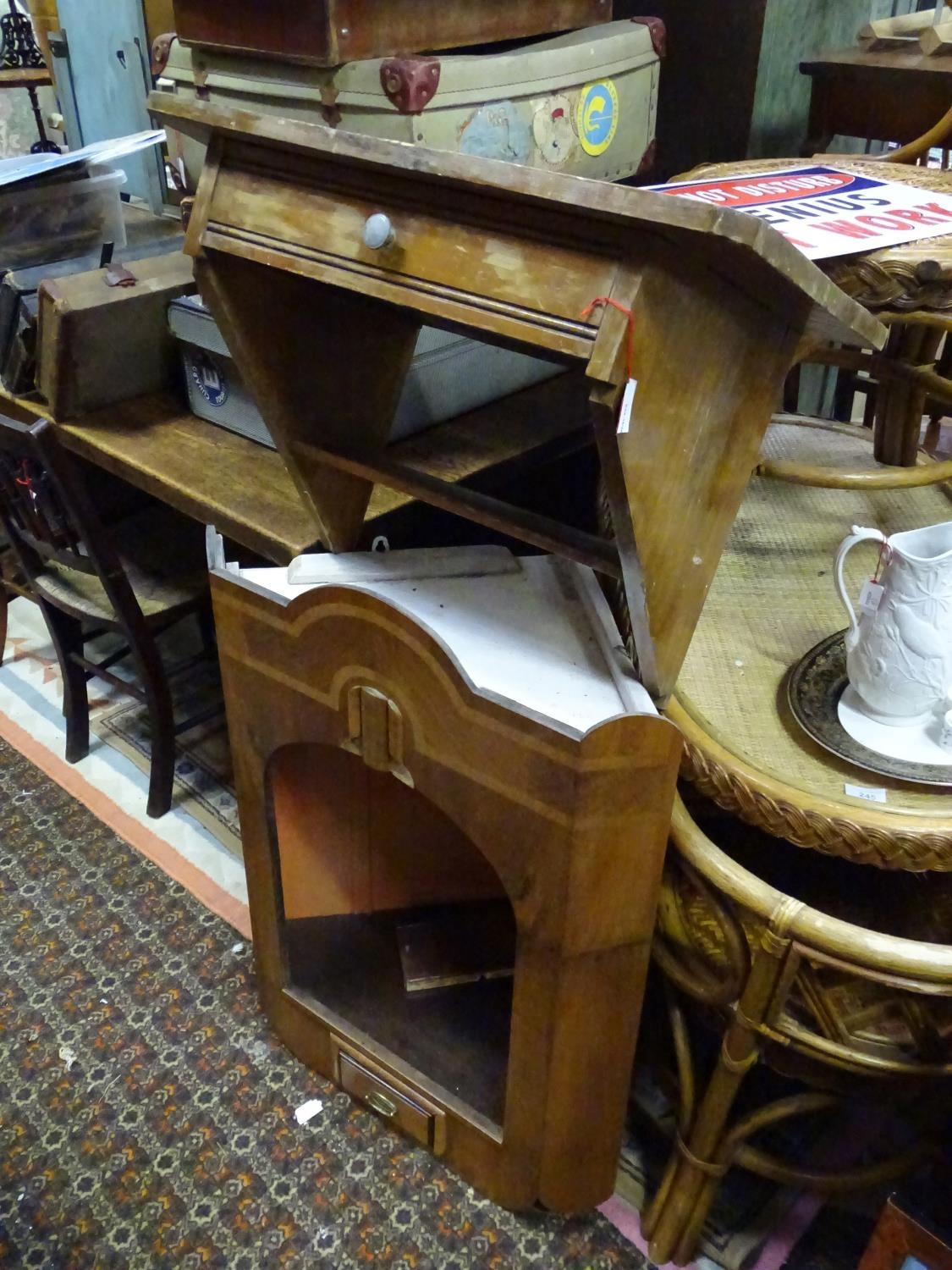 A bracket shelf with a single drawer. Together with a corner cupboard (2) Please Note - we do not